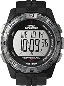 Timex Men's T49851 Expedition Rugged Digital Vibration Alarm Black Resin Strap Watch