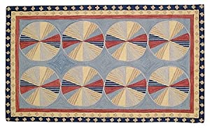 Wool Area Rug 4x6.6 Feet Pinwheel Blue