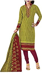 PRANJUL Women's Cotton Unstitched Dress Material (Green)