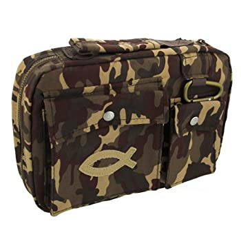 Cotton Twill Camouflage Bible / Book Cover w/Fish Patch
