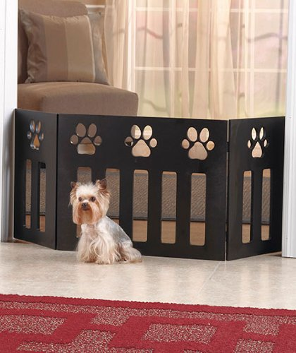 Paw Print Wood Pet Gate front-15288