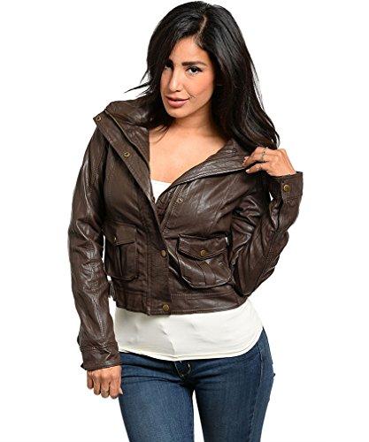 Simplicity Fashion Jacket w/ Leopard Print Lining, PU Leather, Brown, M
