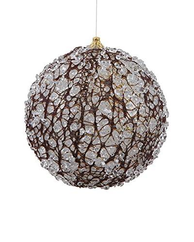Winward 6 Ice Bark Ball Ornament, Brown/White