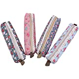Leegoal Cute Polka Dot Flower Style Pounch Pen Bag (Green Sky Blue Pink and Blue, Set of 4)