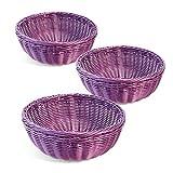 Colorbasket 31111-209 Hand Woven Waterproof Bowl Basket, Royal Purple, Set of 3