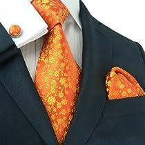 Landisun 661 Bright Orange Floral Pattern Mens Silk Tie Set: Tie+Hanky+Cufflinks
