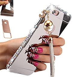 for iPhone 6, for iPhone 6S Case, AMASELL Luxury Bling 3D Sparkle Diamond Mirror case + Aluminum Metal Frame Bumper With Pearl Tassels Hard PC Back Cover Case 4.7 Inch, Sliver with bling