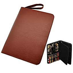 Fountain Rollerball Pen Case Holder PU Leather Case for 48 Pens - Brown