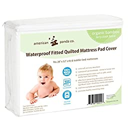 American Panda Co. Waterproof Fitted Baby Crib and Toddler Protective Mattress Pad Cover Organic Bamboo