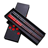Top Grade Japanese Natural Wood Chopsticks, Reusable Classic Style, 2 Pairs with Case, Value Gift Set (Color: Black&Red)