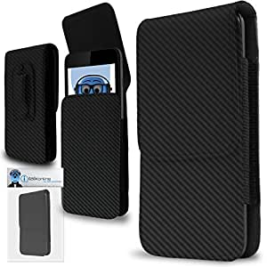 Carbon Fibre / Fiber Black PREMIUM PU Leather Vertical Executive Side Pouch Case Cover Holster with Belt Loop Clip and Magnetic Closure for Oppo R815T Clover