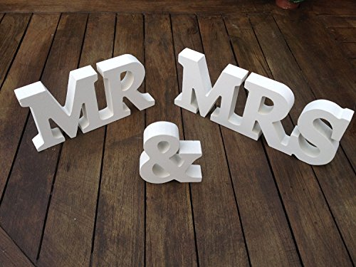 Musuntas® décorations de mariage en bois, Mr & Mrs Holzbuchstaben, cadeau de mariage 10cm x 1.5cm 21cmX