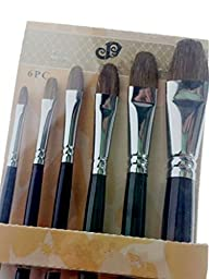 Paul Cezanne-Artist\'s Painting Supplies Crafts Paintbrushes Set-Horse Hair Filberts 6pcs/set-Long Birch Wooden Handle-Oil,Acrylic,Watercolor Paints Set