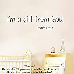 Wall Decals Vinyl Decal Sticker Mural Interior Design Psalm Quote I\'m a Gift From God Kids Nursery Baby Room Boy Girl Bedding Decor
