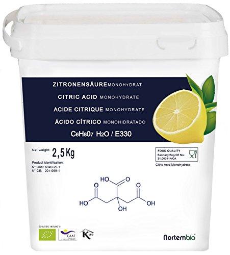 835dd8985da7 NortemBio, Acide Citrique 2,5 Kg, La Meilleure Qualité Alimentaire, 100%  Naturel,