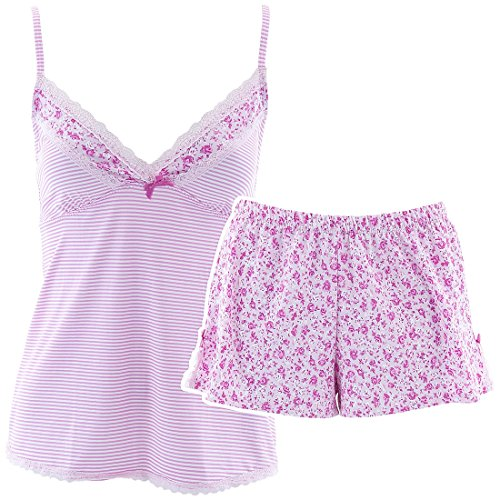 laura-ashley-womens-pink-striped-short-pajama-set-m