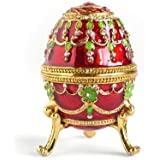 Hand- Painted Rich Red Vintage Style Faberge Egg with Gold Finish, Rhinestones, Enamel Jewelry Trinket Box