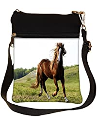 Snoogg Running Horses Cross Body Tote Bag / Shoulder Sling Carry Bag