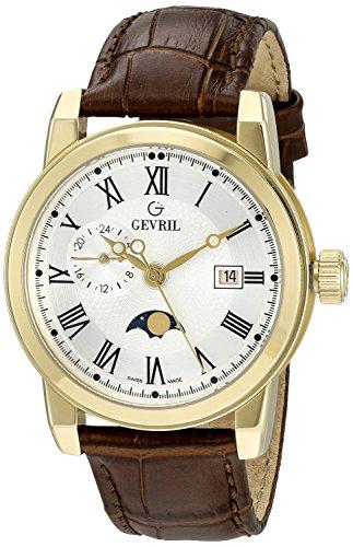 Gevril de los hombres de 2531Cortland cuarzo analógica Swiss marrón reloj
