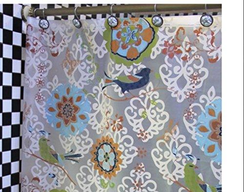 LUN Gratis acqua muffa decorativo PEVA che tenda doccia repellente 72 x 78 viene fornito con 12 ganci (Batik fiori e uccelli) , wide 240* high 200cm