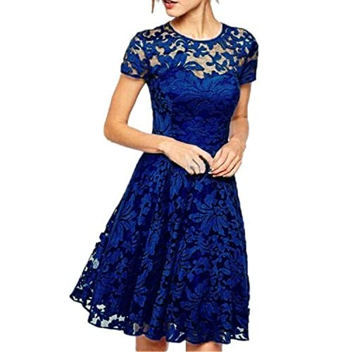 ZANZEA Women's Round Neck Short Sleeve Lace Princess Dress Party Ball Gown