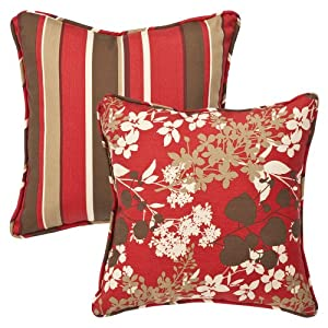 Pillow Perfect Decorative Red/Brown Floral/Striped Toss Pillows, Square Reversible, 18-1/2 Length, 2-Pack by Pillow Perfect