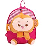 1024906 Cartoon Baby Girls Boys Soft Plush Preschool Backpack Kids Cute Monkey Tiger Design Shoulder Bags Outdoor Travel Food Bag Children School Book Bag Kid Gift Pink Monkey