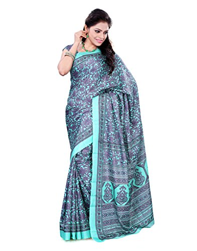 FineFab Green & Beige Crepe Daily Wear Printed Sarees With Blouse Piece