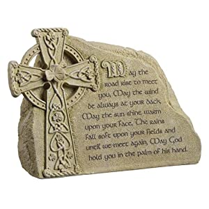 """Grasslands Road Dublin Court """"May the road rise to meet you.."""" Celtic Cross and Shamrock Message Stone"""