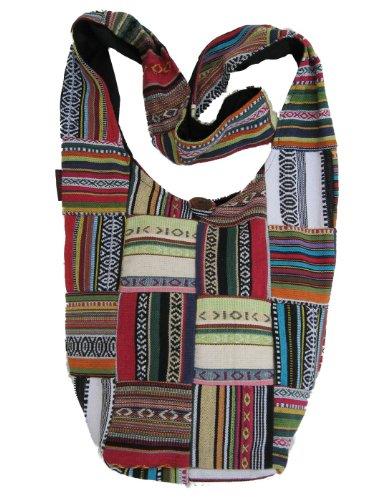 Bohemian Patched Woven Cotton Long Shoulder Bag