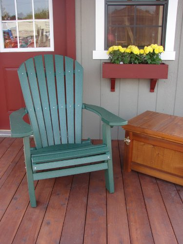 Forever Phat Tommy Deluxe Recycled Poly Wide Folding Adirondack Chair    Dark Green