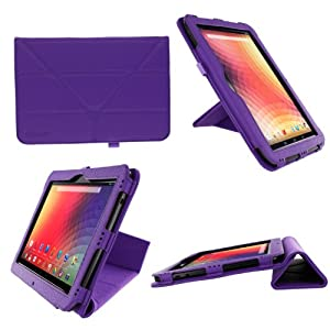 rooCASE Origami Dual-View (Purple) Vegan Leather Folio Case Cover for Google Nexus 10 - Support Landscape / Portrait / Typing Stand / Auto Sleep and Wake