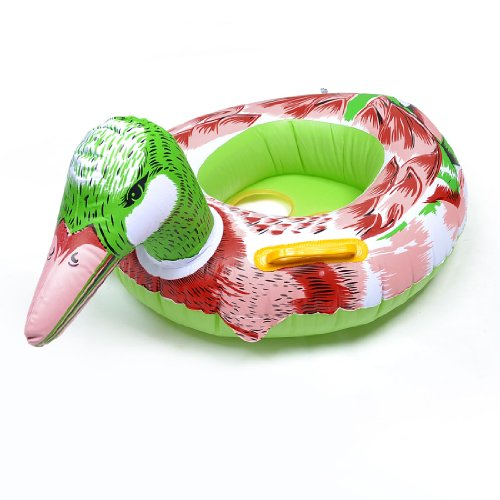 Pink Lime Mandarin Duck Shaped Baby Kids Inflatable Swimming Swim Seat Boat front-1000770