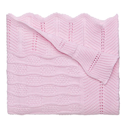 "Elegant Baby 100% Cotton Sweater Knit Blanket, Fancy Texture, 30"" X 40"""