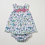 Little Bitty Floral Print Sundress w/ Diaper Cover , BLUE /TURQ, 9 Months