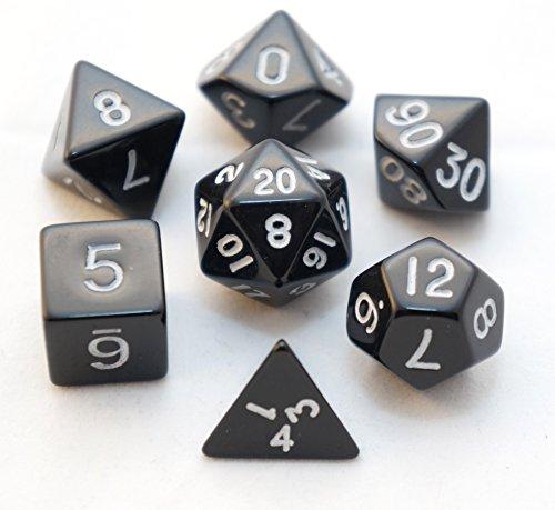 Black Opaque Polyhedral Dice 7 Piece Set Die