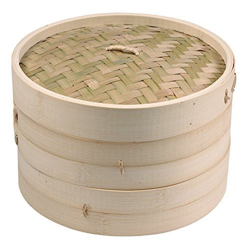 IMUSA USA PAN-10051W Asian Bamboo Steamer, 8-Inch, Tan