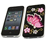 ITALKonline FunkGem BLACK PINK BUTTERFLY Diamonte Crystals Super Hydro Gel Protective Armour/Case/Skin/Cover/Shell for Apple iPhone 4 4G HD