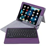 HDE Folding PU Leather Folio Case Cover Stand w/ Removable Bluetooth Keyboard for iPad 2/3/4 Tablet (Purple)