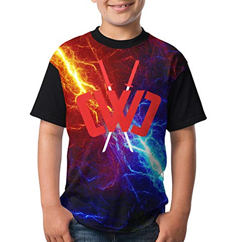 Chad Wild Clay Boys and Girls Print T-Shirts, Youth Fashion Tops S Black