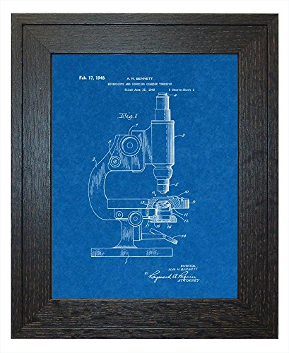 "Microscope And Counting Chamber Patent Art Blueprint Print In A Rustic Oak Wood Frame (8.5"" X 11"")"