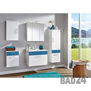 badm belset seven color hochglanz weiss blau inkl. Black Bedroom Furniture Sets. Home Design Ideas
