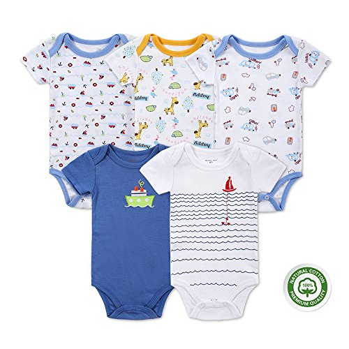 Mother Nest Baby Bodysuit Onesies Clothes Boys 5 Pack(BBT051-12M)