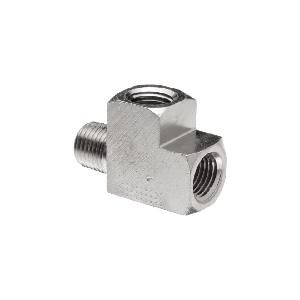 Polyconn PC127NB 2 Nickel Plated Brass Pipe Fitting, Run Tee, 1/8 NPT (Pack of 10)
