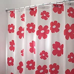 Red White Poppy Flower Fabric Shower Curtain