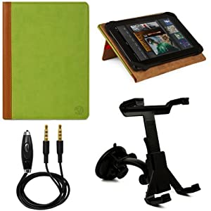 Green - Brown VG Mary Edition Faux Leather Cover Case w/ Pull Out Kickstand for Archos 80 G9 Android 8-inch Tablet + Windshield Tablet Mount Cradle with Suction Cub Holder + 3.5mm to 3.5mm Stereo Auxiliary Audio Cable With Built In Microphone & on/off Switch