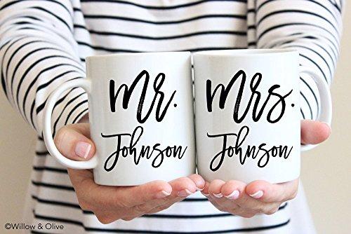 Mr & Mrs Mug Set of 2 - Personalized Last Name Mugs Wedding / Engagement Mug Set - Premium Ceramic Mug Set 11oz or 15 oz sizes - SKU-W0011 (Details Mr Coffee compare prices)