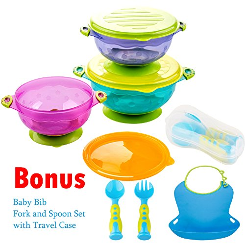 stay put and spill proof suction bowl set kidsmile 3 count premium colorful baby bowls set of 3 different size bowls seal easy lids perfect storage