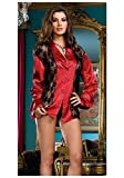 Dreamgirl 7064 Sexy Sleep Over Sleep Shirt and Thong (Red/Black;Medium)