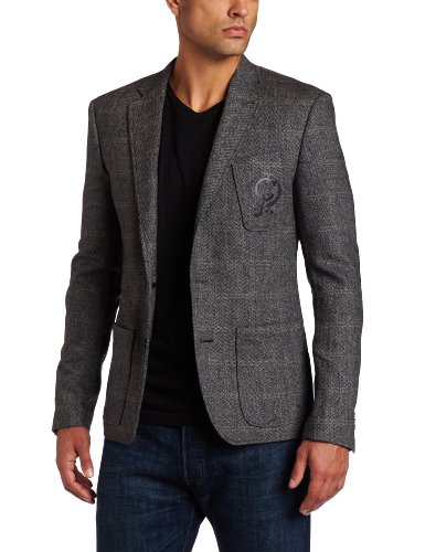 J.C. Rags Men's Herringbone Tweed Blazer, Black, Large